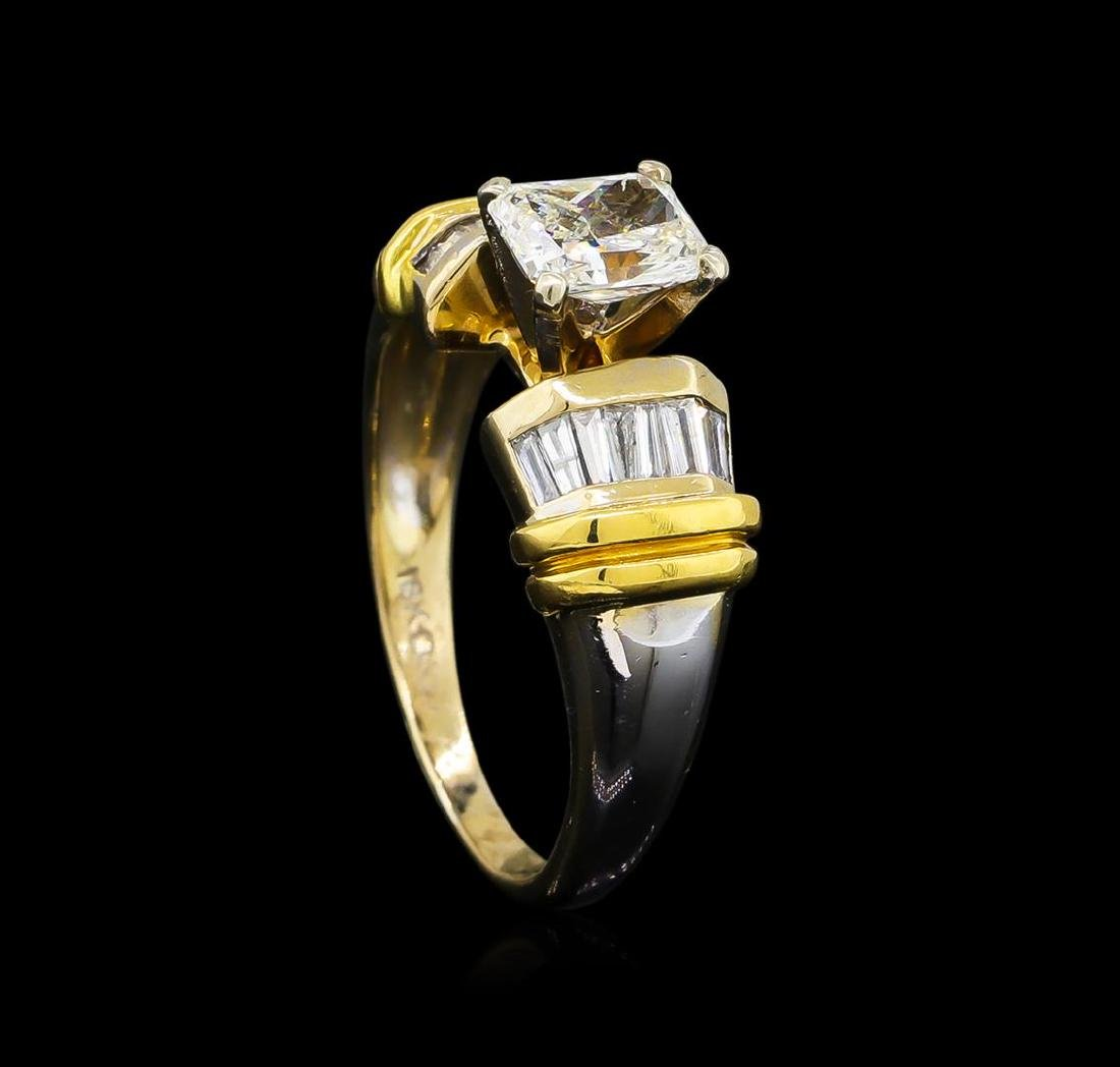 GIA Cert 1.26 ctw Diamond Ring - 18KT Two-Tone Gold - 4