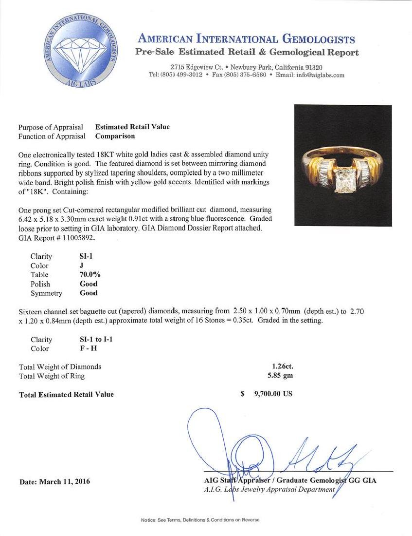 GIA Cert 1.26 ctw Diamond Ring - 18KT Two-Tone Gold - 5