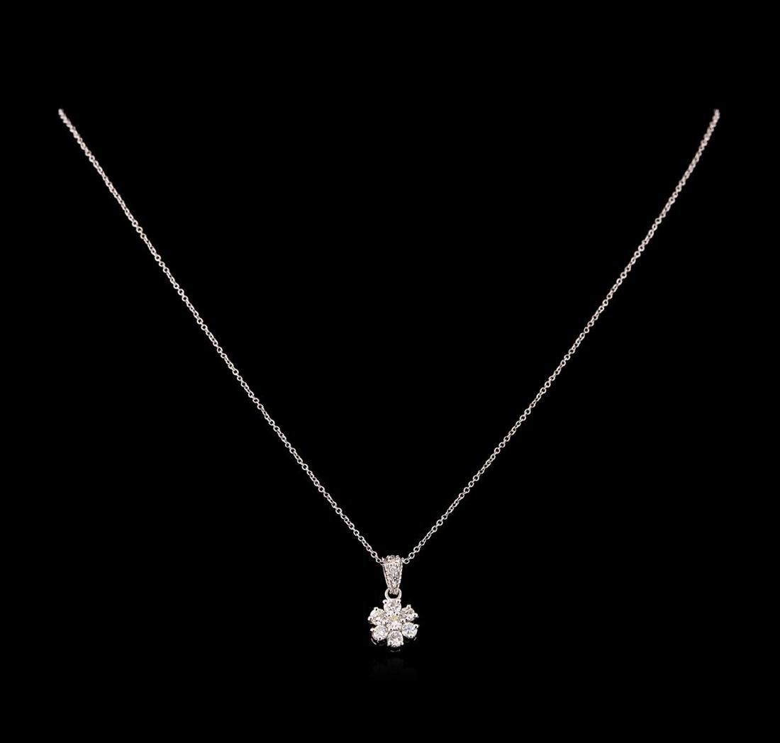 0.66 ctw Diamond Pendant With Chain - 18KT White Gold - 2