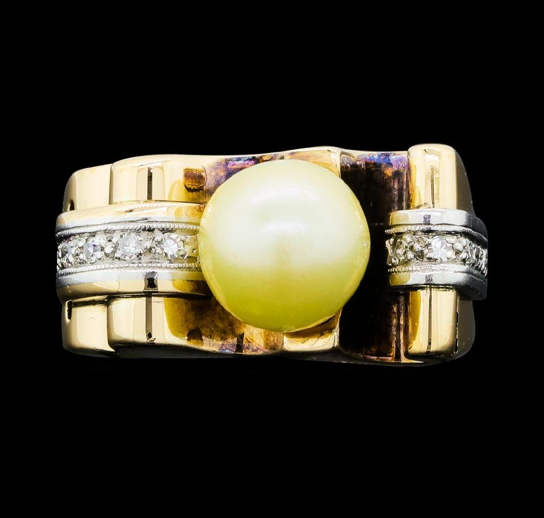 0.10 ctw Diamond and Pearl Ring - 14KT Yellow and White - 2