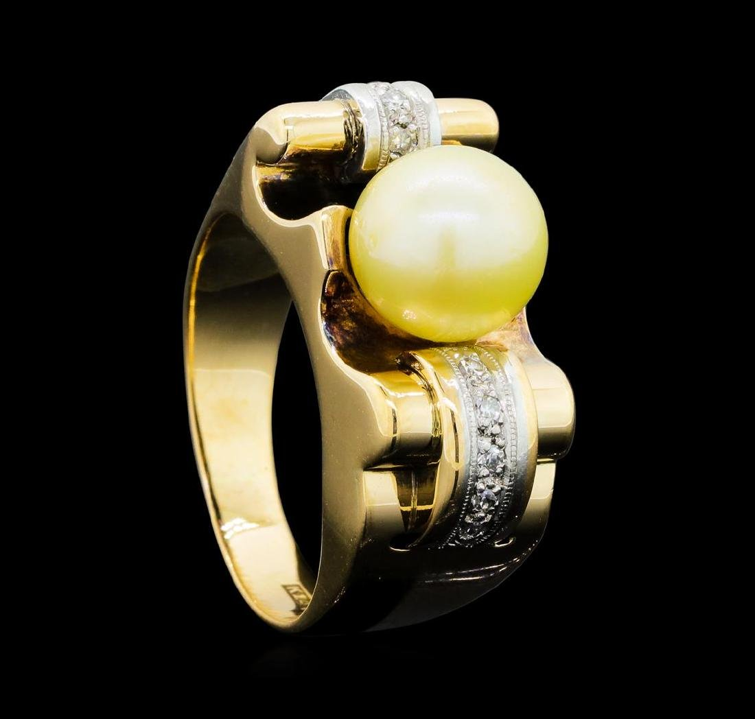 0.10 ctw Diamond and Pearl Ring - 14KT Yellow and White - 4