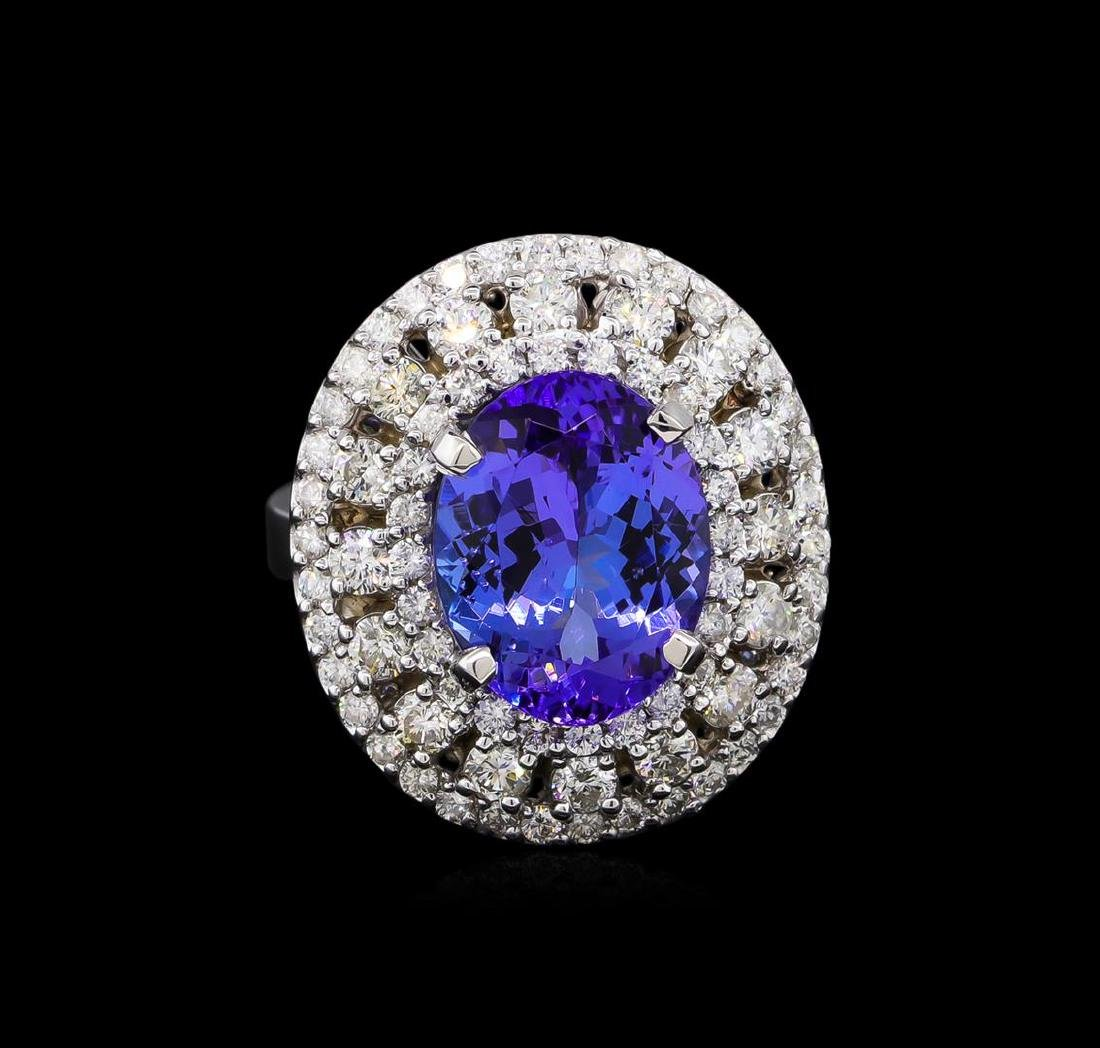 5.12 ctw Tanzanite and Diamond Ring - 14KT White Gold - 2