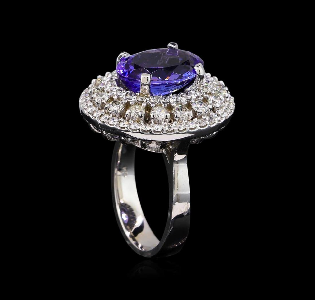 5.12 ctw Tanzanite and Diamond Ring - 14KT White Gold - 4