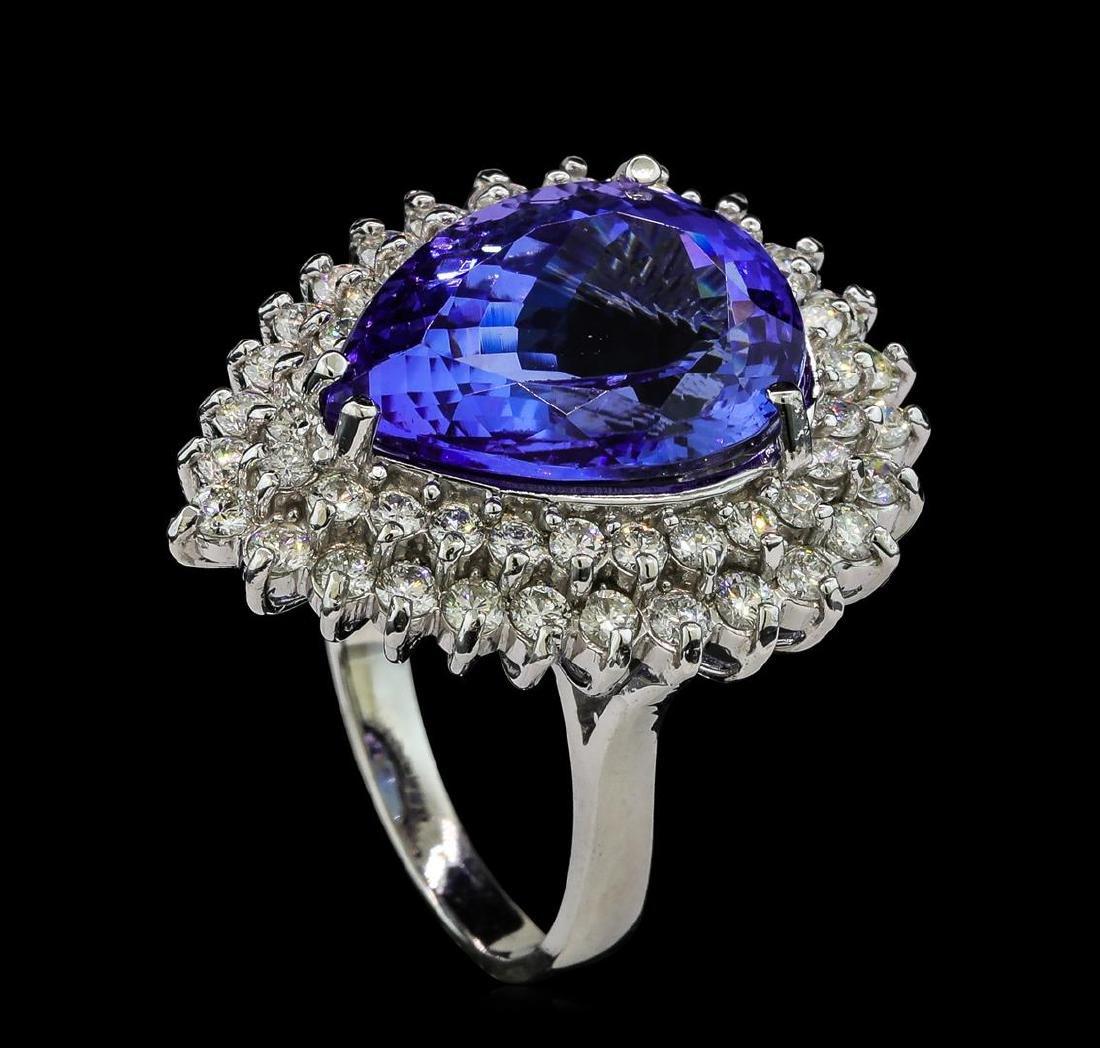 11.90 ctw Tanzanite and Diamond Ring - 14KT White Gold - 4