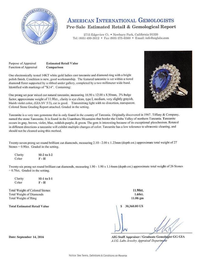 11.90 ctw Tanzanite and Diamond Ring - 14KT White Gold - 5
