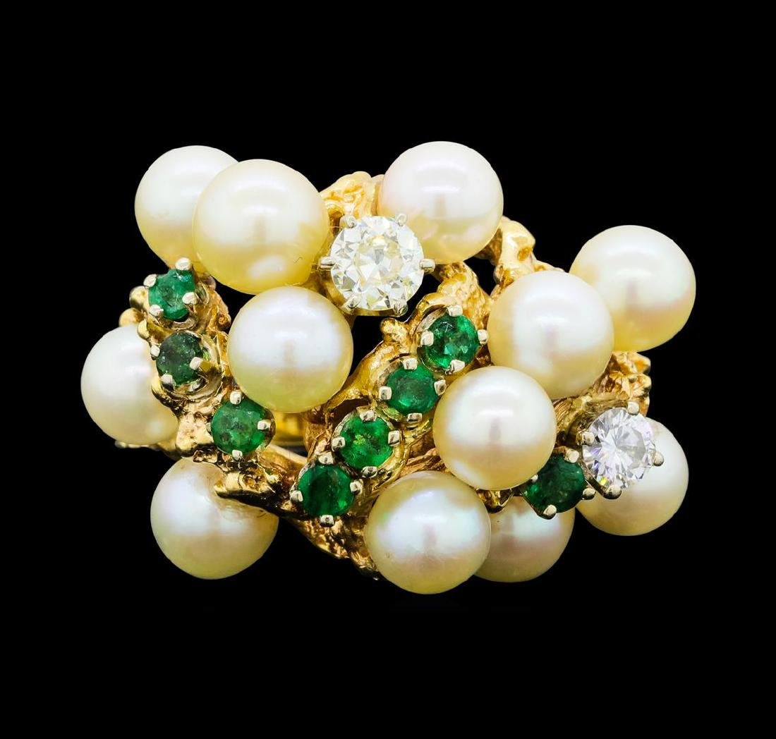 0.65 ctw Diamond, Emerald and Pearl Ring - 14KT Yellow - 2