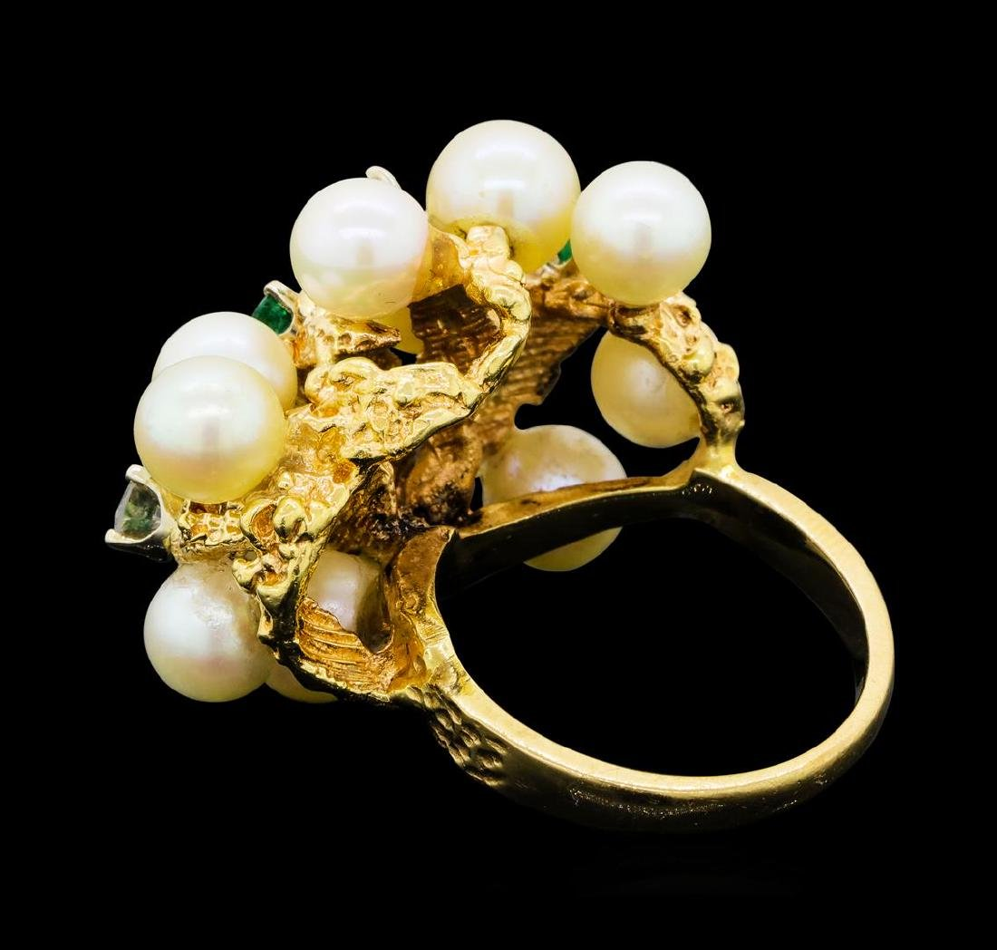 0.65 ctw Diamond, Emerald and Pearl Ring - 14KT Yellow - 3