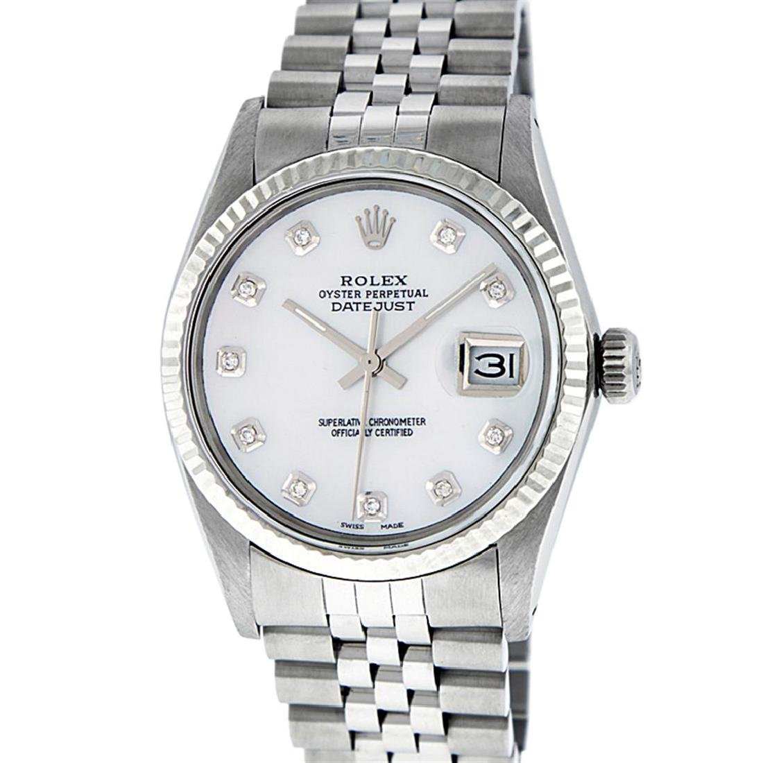 Rolex Mens Stainless Mother Of Pearl Diamond 36MM