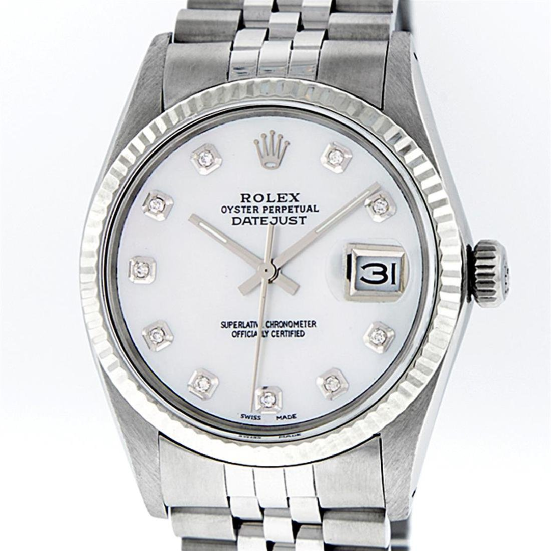 Rolex Mens Stainless Mother Of Pearl Diamond 36MM - 2