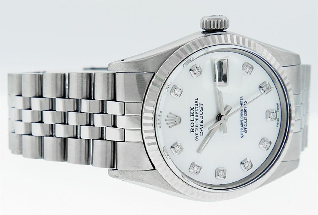 Rolex Mens Stainless Mother Of Pearl Diamond 36MM - 3