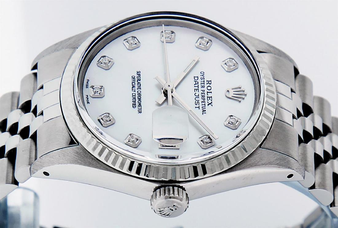 Rolex Mens Stainless Mother Of Pearl Diamond 36MM - 5
