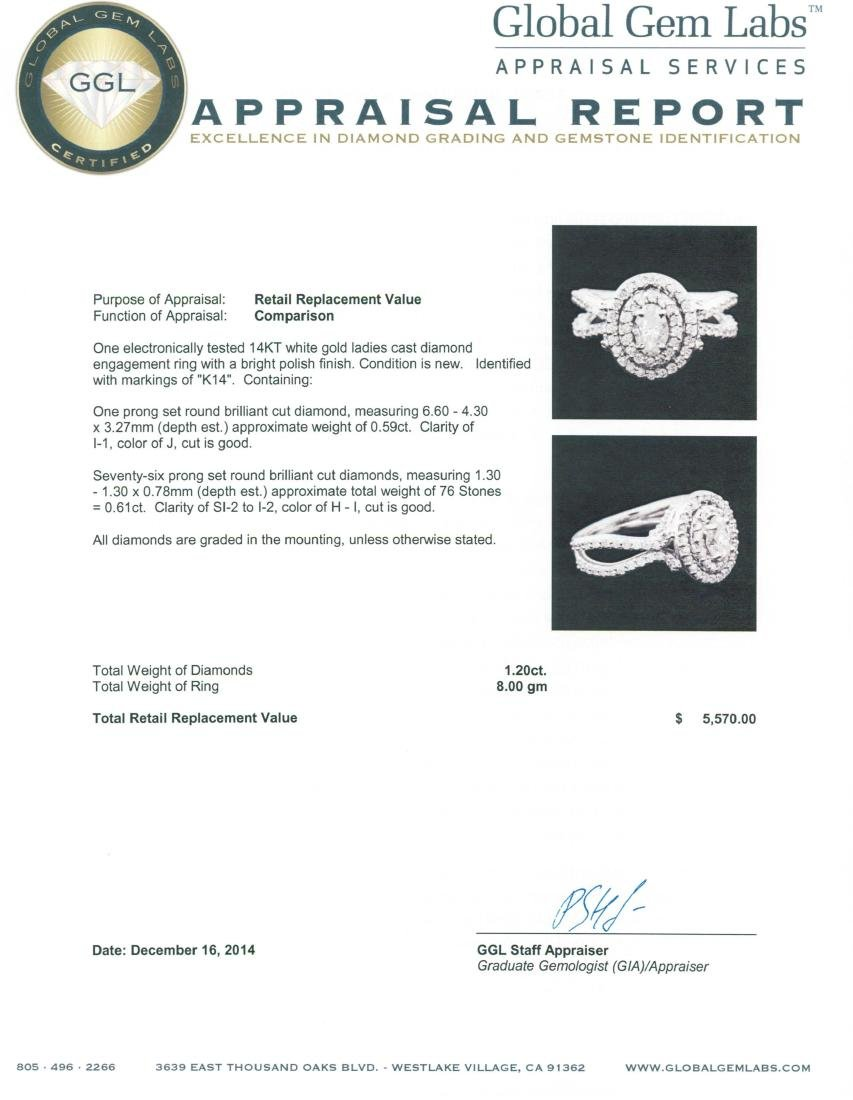 14KT White Gold 1.20 ctw Diamond Ring - 5