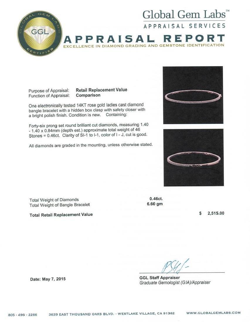 14KT Rose Gold 0.46 ctw Diamond Bracelet - 4