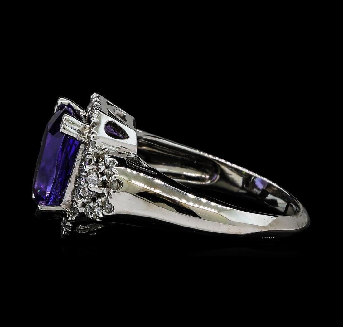 2.93 ctw Tanzanite and Diamond Ring - 14KT White Gold - 3