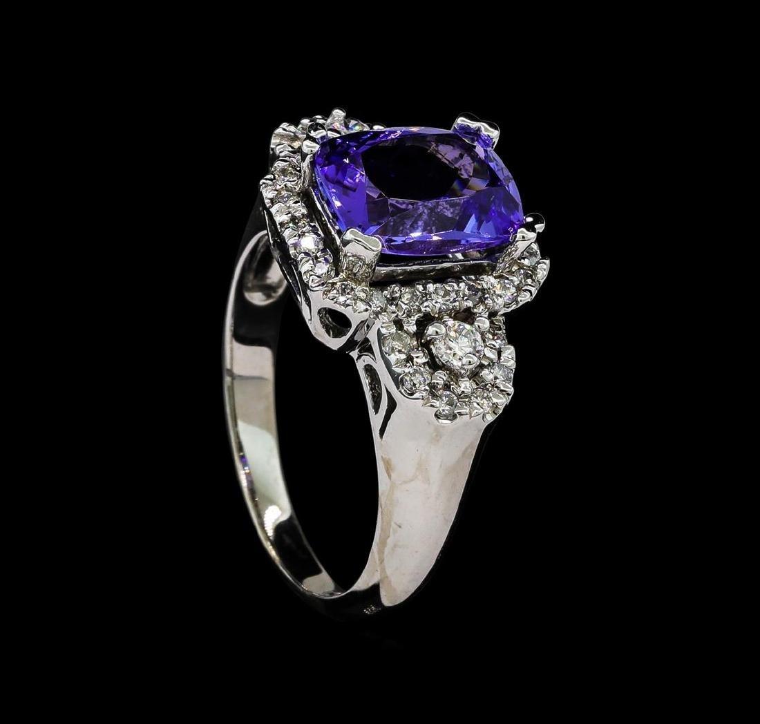 2.93 ctw Tanzanite and Diamond Ring - 14KT White Gold - 4