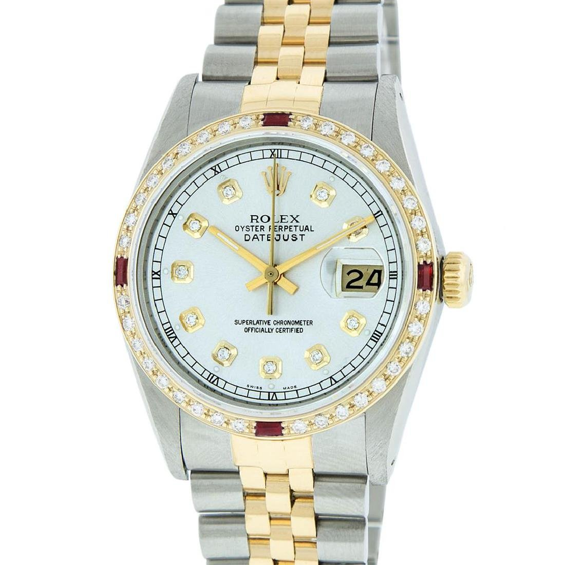 Rolex Mens 2 Tone 14K Silver Diamond & Ruby Datejust