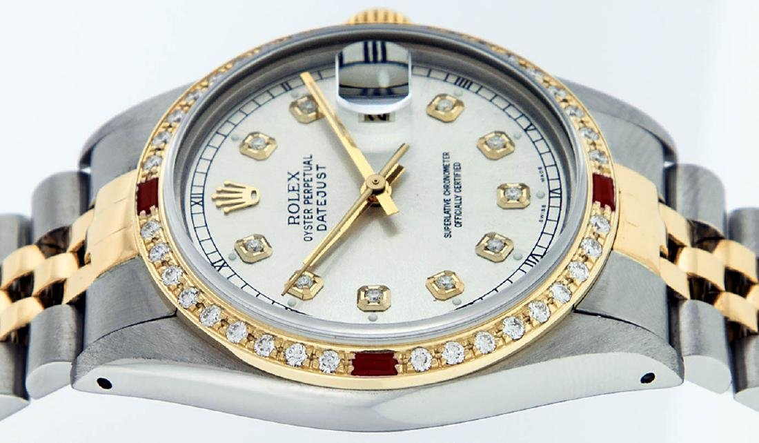 Rolex Mens 2 Tone 14K Silver Diamond & Ruby Datejust - 7
