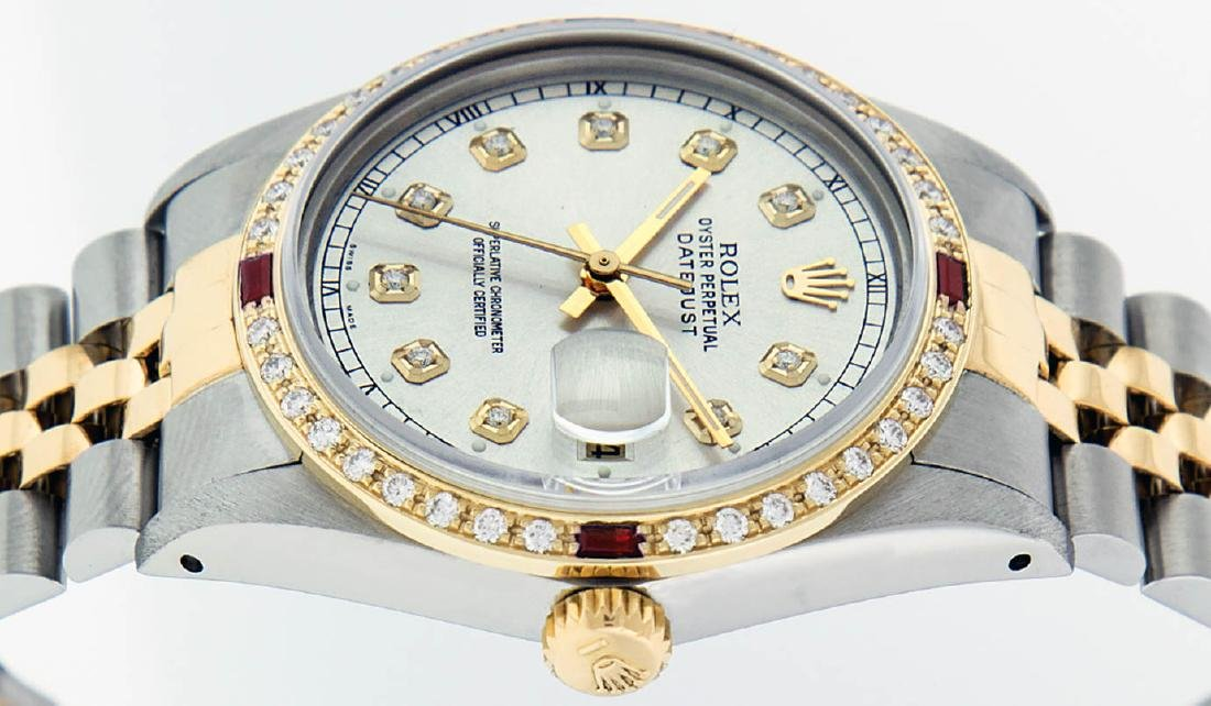 Rolex Mens 2 Tone 14K Silver Diamond & Ruby Datejust - 9