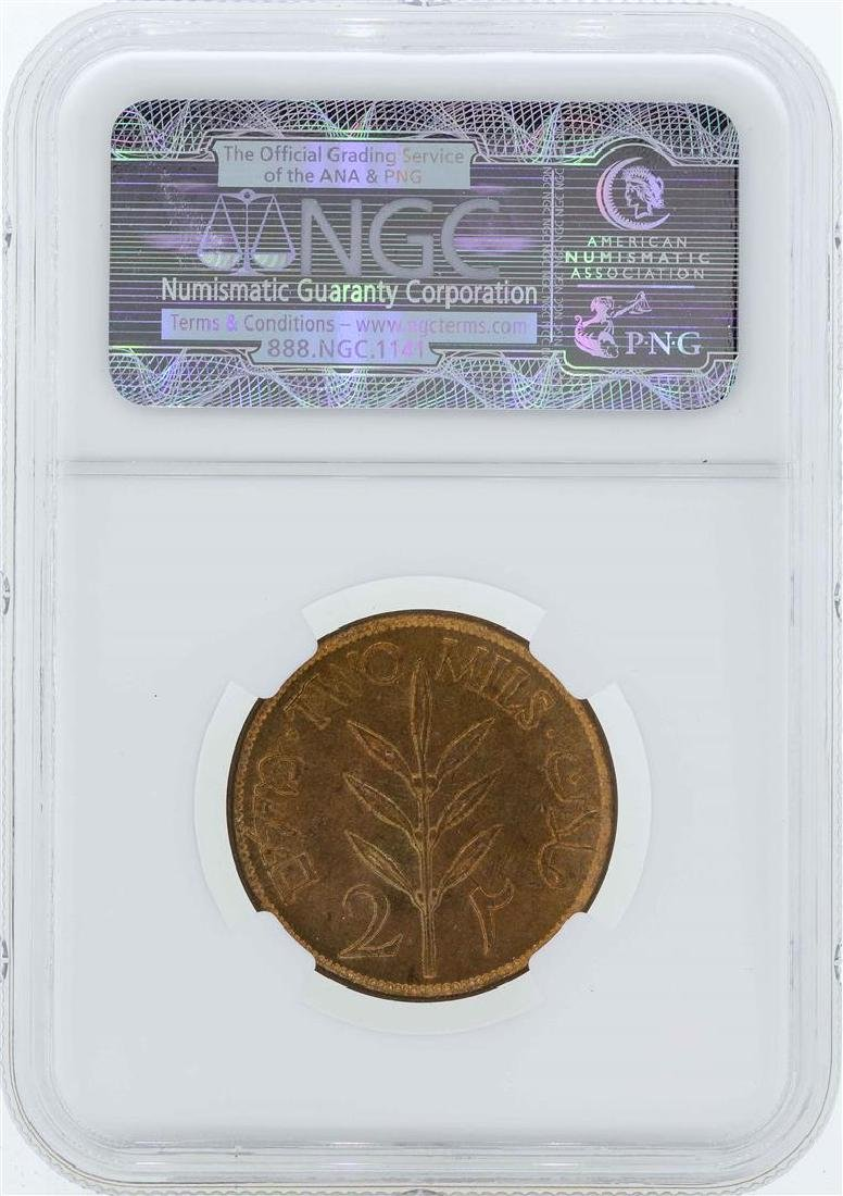 1927 Palestine 2 Mils Coin NGC MS65RD - 2