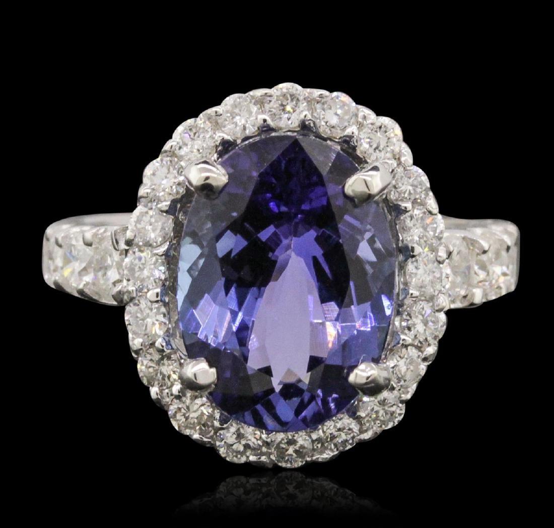 14KT White Gold 5.22 ctw Tanzanite and Diamond Ring