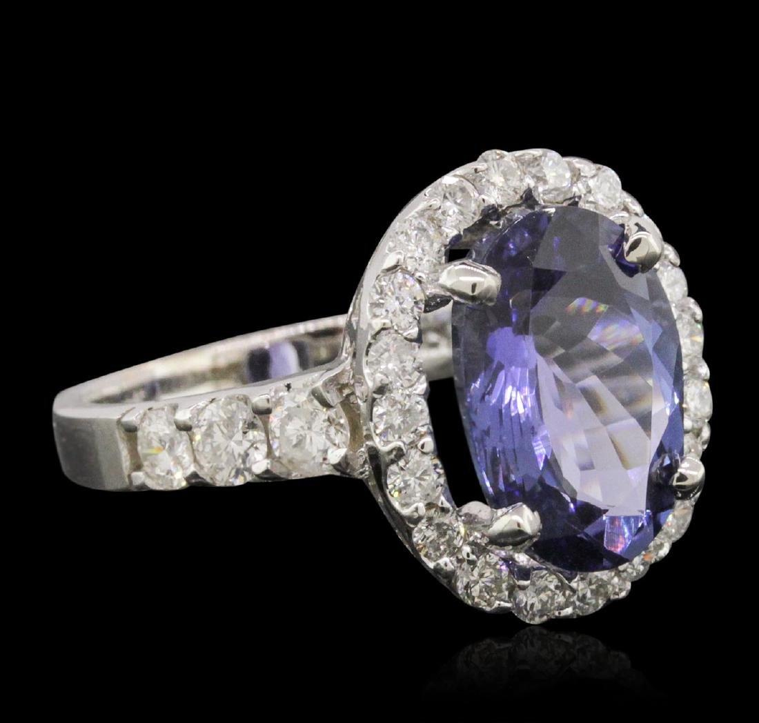 14KT White Gold 5.22 ctw Tanzanite and Diamond Ring - 2