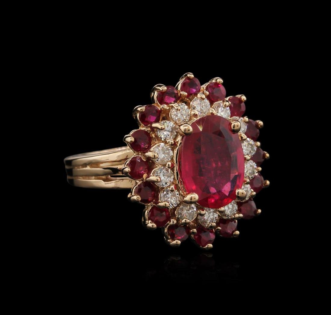 4.15 ctw Ruby and Diamond Ring - 14KT Rose Gold
