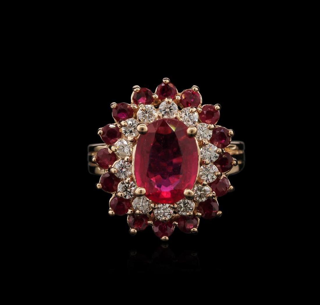 4.15 ctw Ruby and Diamond Ring - 14KT Rose Gold - 2