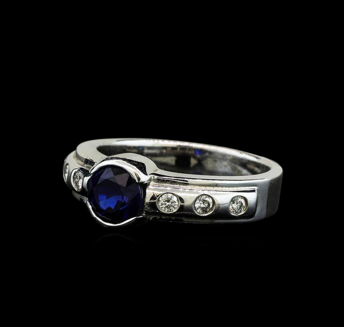 1.28 ctw Blue Sapphire and Diamond Ring - 14KT White