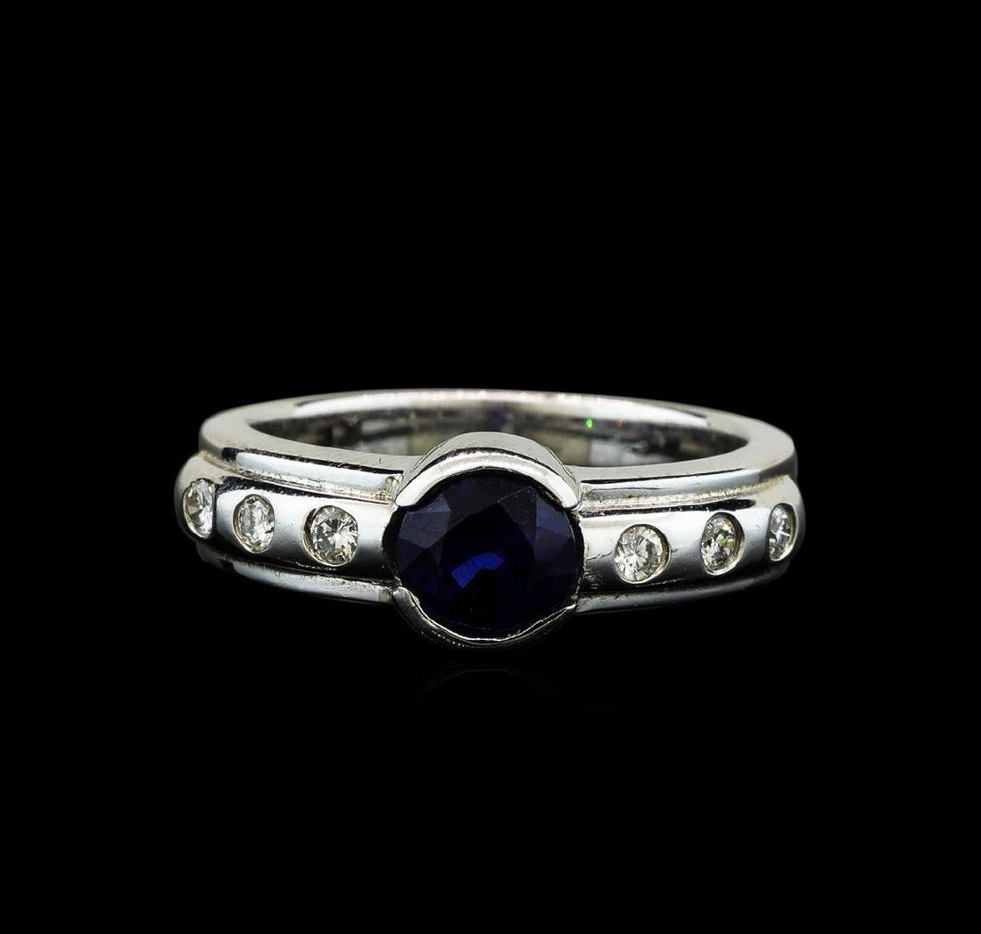 1.28 ctw Blue Sapphire and Diamond Ring - 14KT White - 2