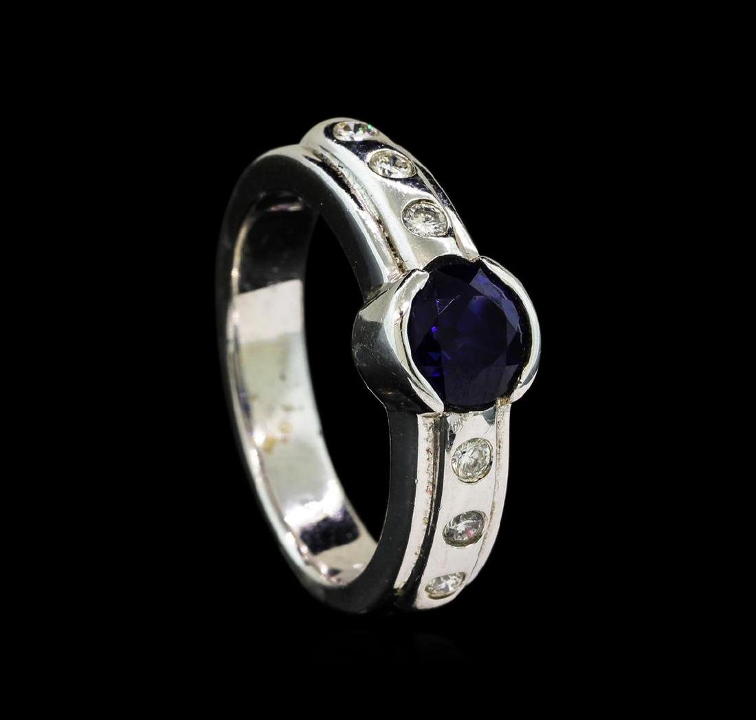 1.28 ctw Blue Sapphire and Diamond Ring - 14KT White - 4