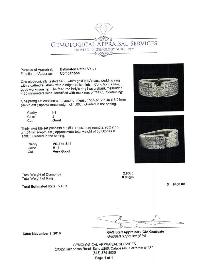 2.90 ctw Diamond Ring - 14KT White Gold - 5