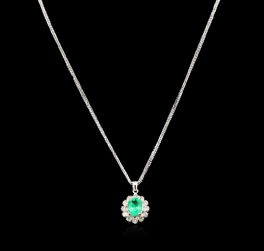 2.52 ctw Emerald and Diamond Pendant With Chain - 14KT - 2