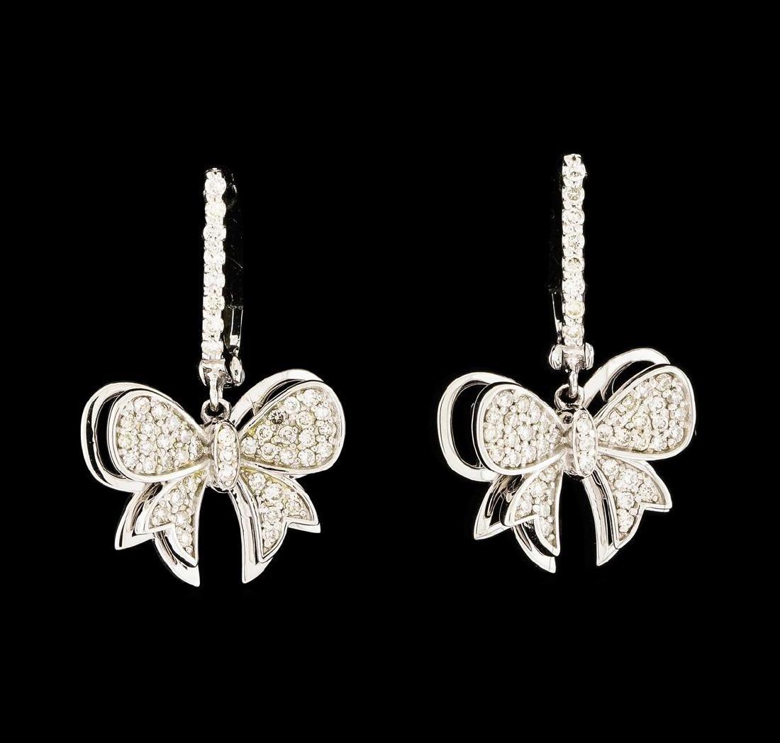 0.54 ctw Diamond Dangle Earrings - 14KT White Gold