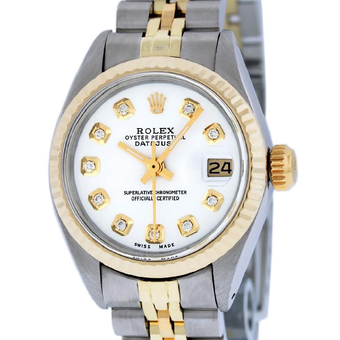 Rolex Ladies 2 Tone 14K White Diamond 26MM Datejust