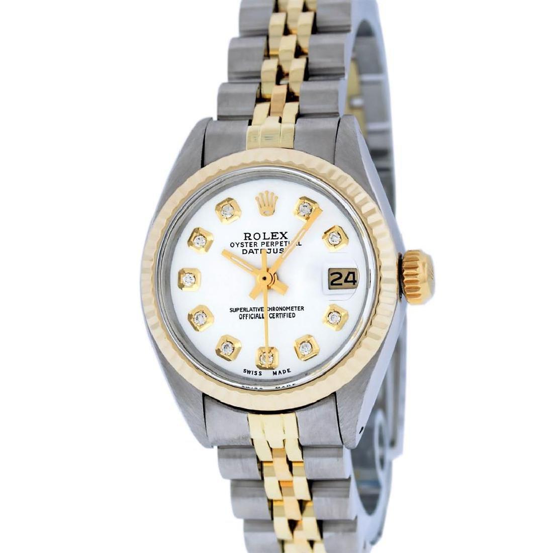 Rolex Ladies 2 Tone 14K White Diamond 26MM Datejust - 2