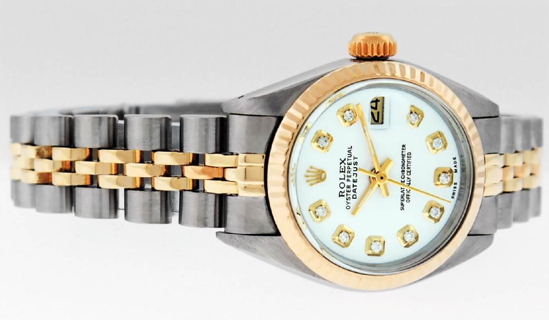 Rolex Ladies 2 Tone 14K White Diamond 26MM Datejust - 5