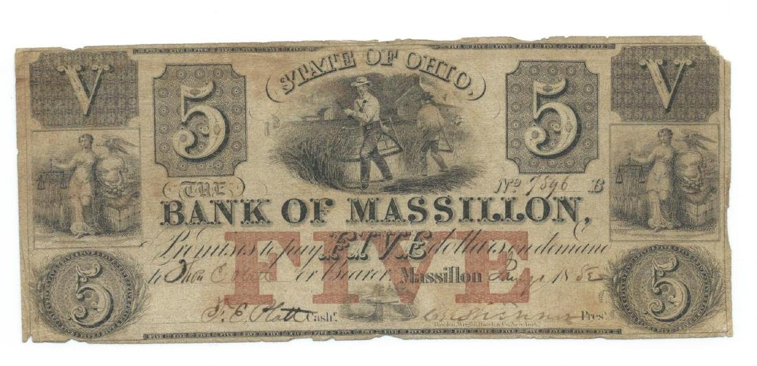 1852 $5 Bank of Massillon, Massillon, OH Obsolete Bank