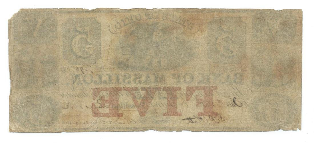 1852 $5 Bank of Massillon, Massillon, OH Obsolete Bank - 2