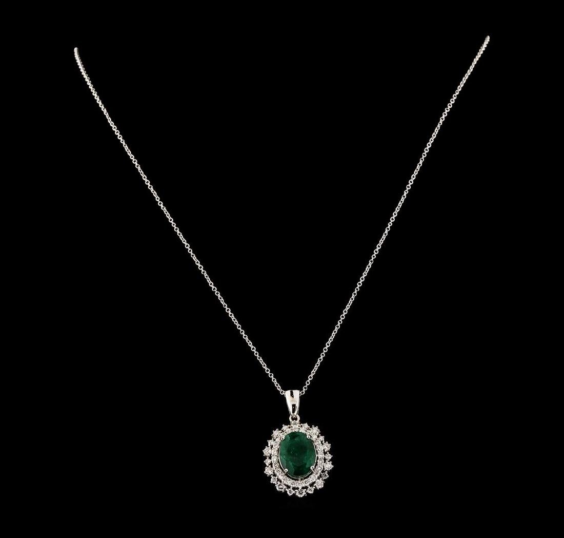 5.14 ctw Emerald and Diamond Pendant With Chain - 14KT