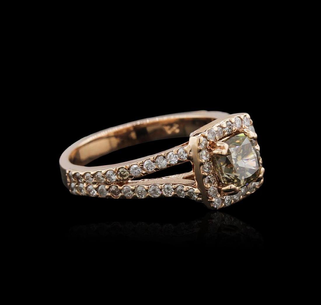 14KT Rose Gold 1.39 ctw Fancy Yellowish Green Diamond