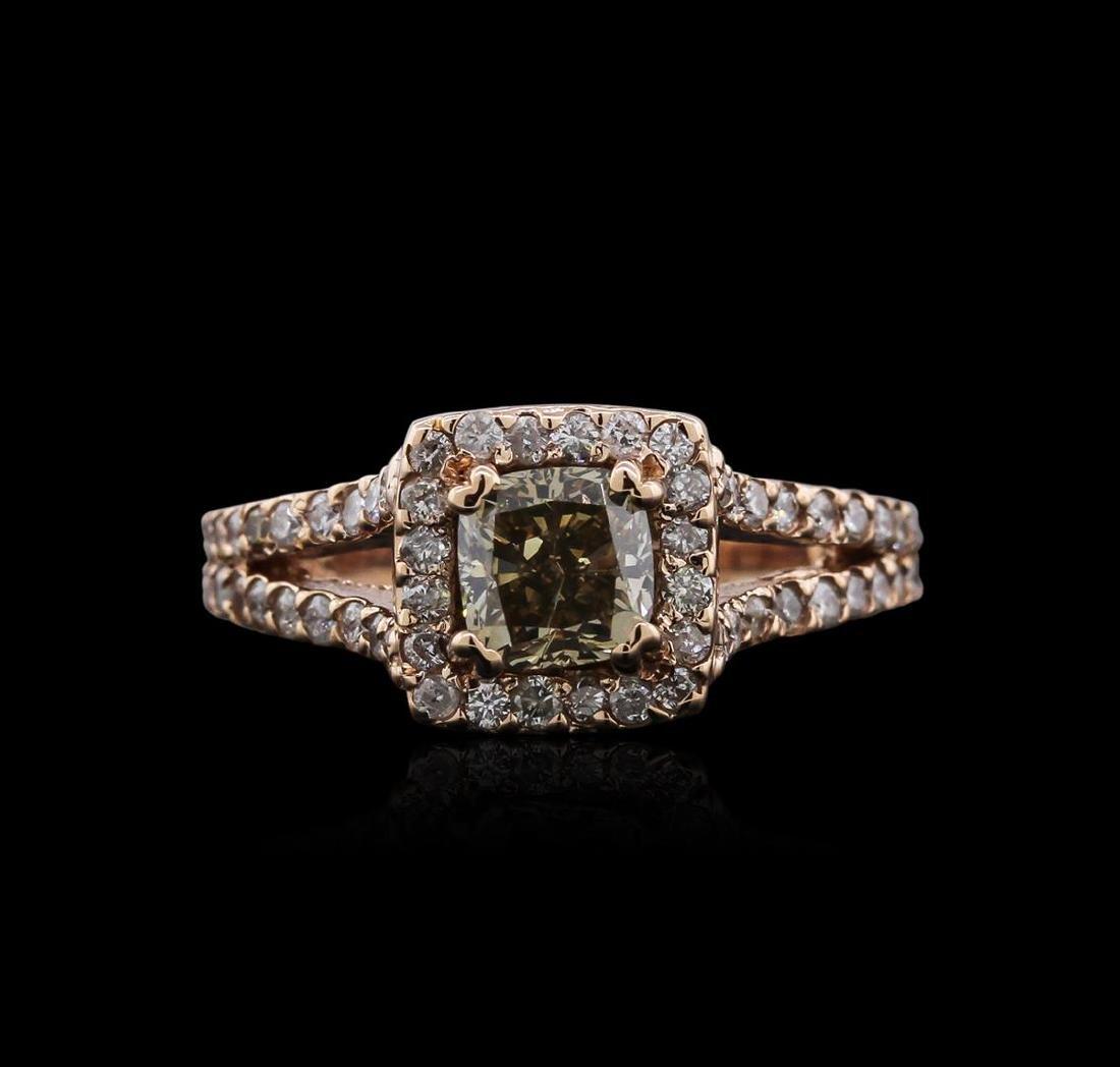 14KT Rose Gold 1.39 ctw Fancy Yellowish Green Diamond - 2