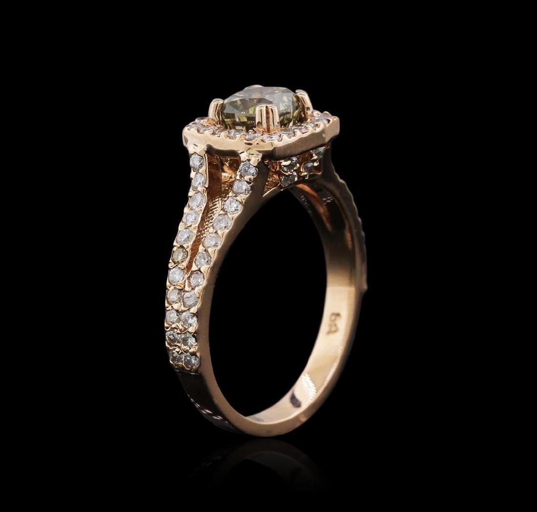 14KT Rose Gold 1.39 ctw Fancy Yellowish Green Diamond - 3