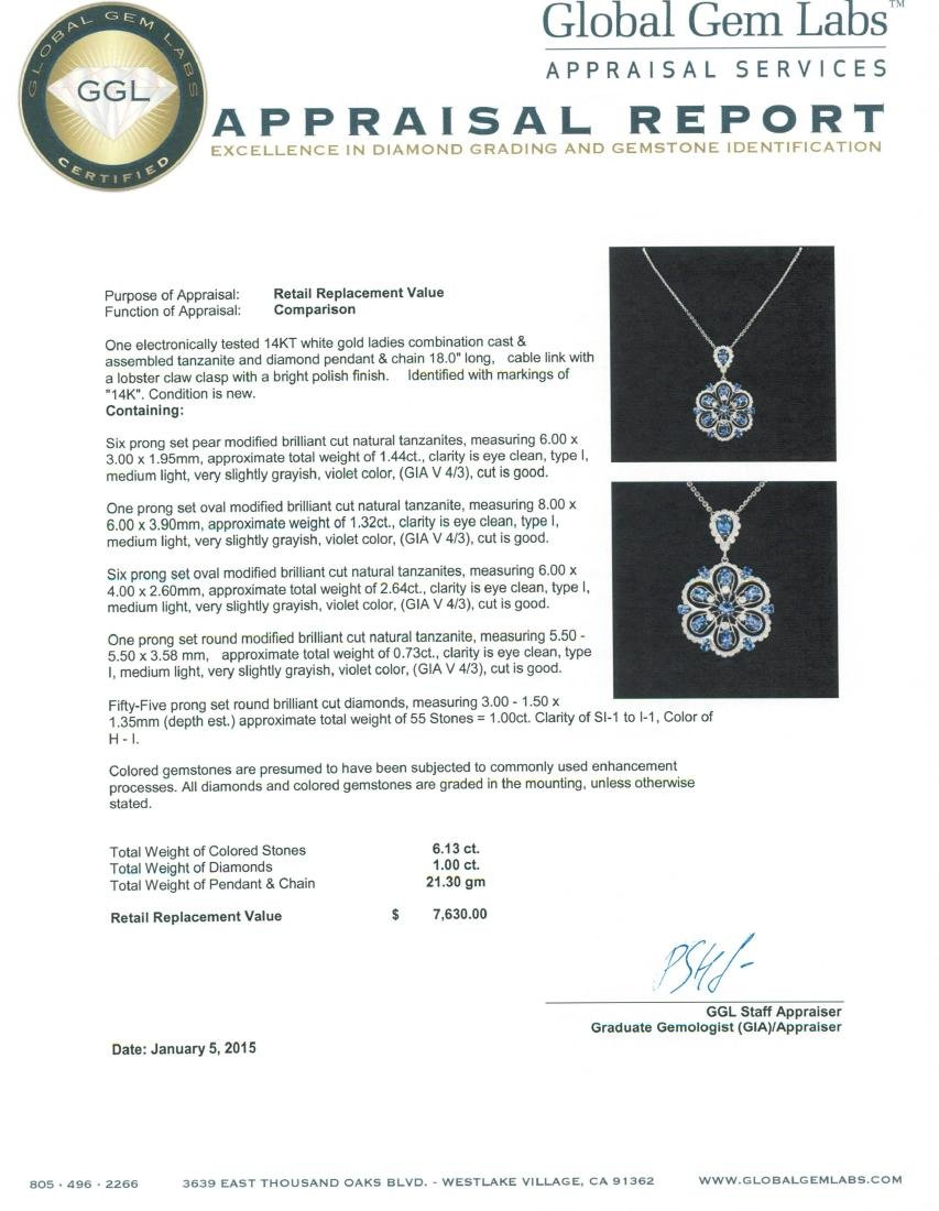 14KT White Gold 6.13 ctw Tanzanite and Diamond Pendant - 4