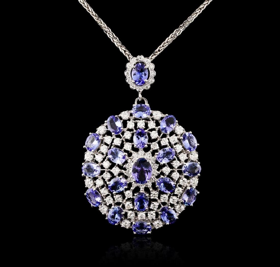 14KT White Gold 18.08 ctw Tanzanite and Diamond Pendant