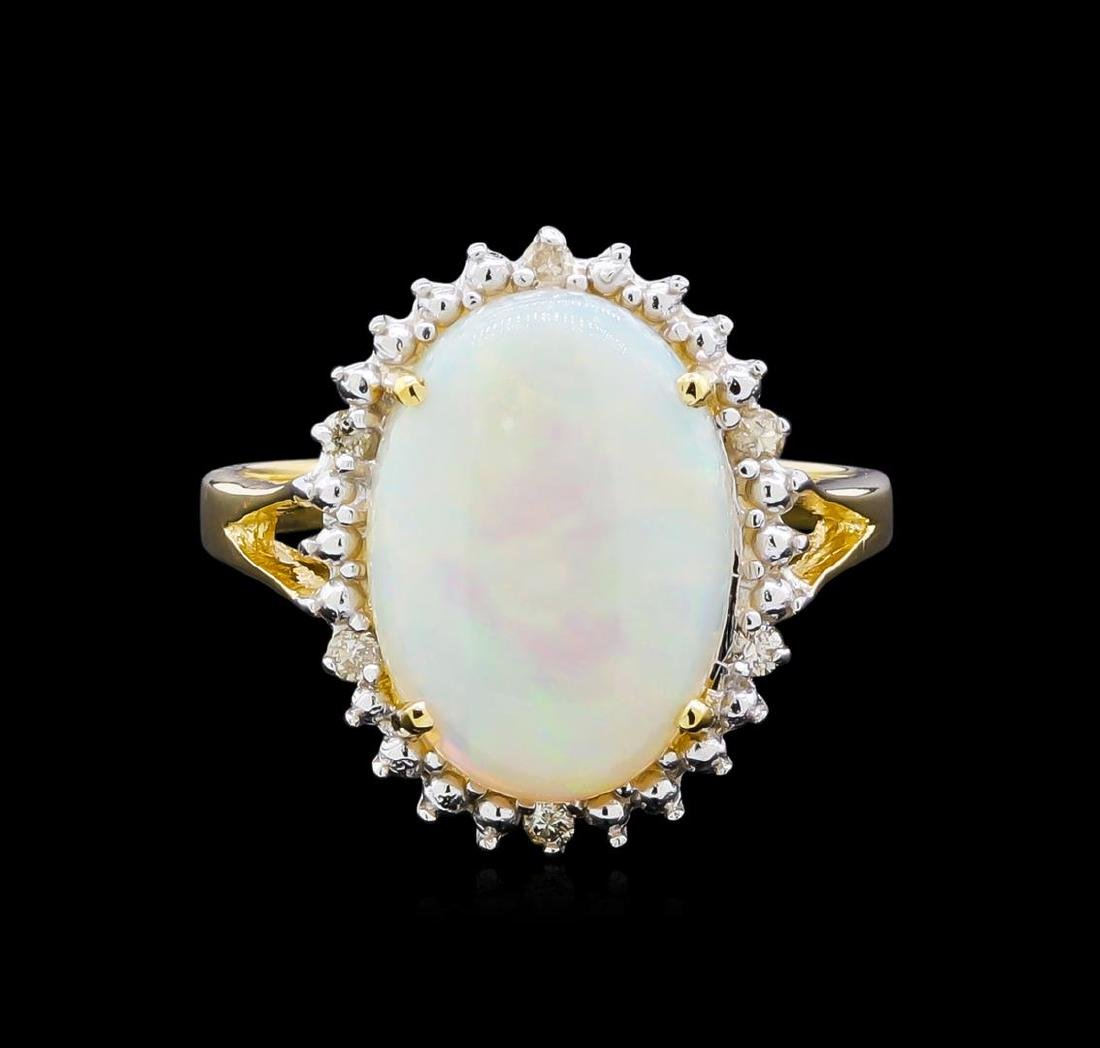 2.82 ctw Opal and Diamond Ring - 18KT Yellow Gold - 4
