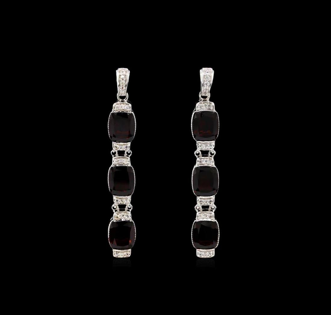 Crayola 21.00 ctw Garnet and White Sapphire Earrings -