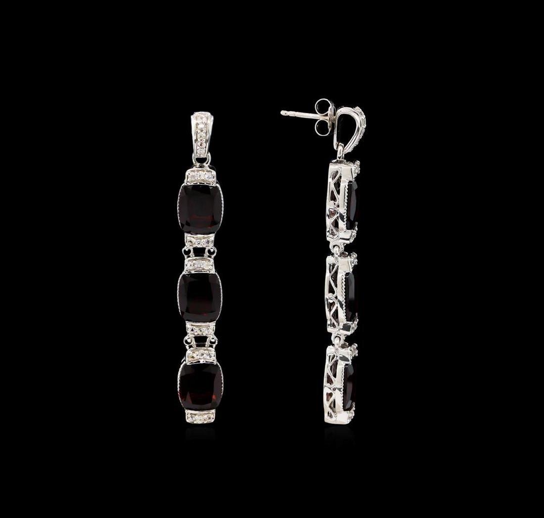 Crayola 21.00 ctw Garnet and White Sapphire Earrings - - 2