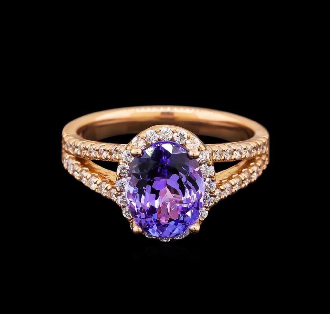 14KT Rose Gold 2.33 ctw Tanzanite and Diamond Ring - 2