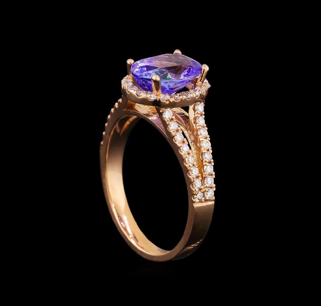 14KT Rose Gold 2.33 ctw Tanzanite and Diamond Ring - 4