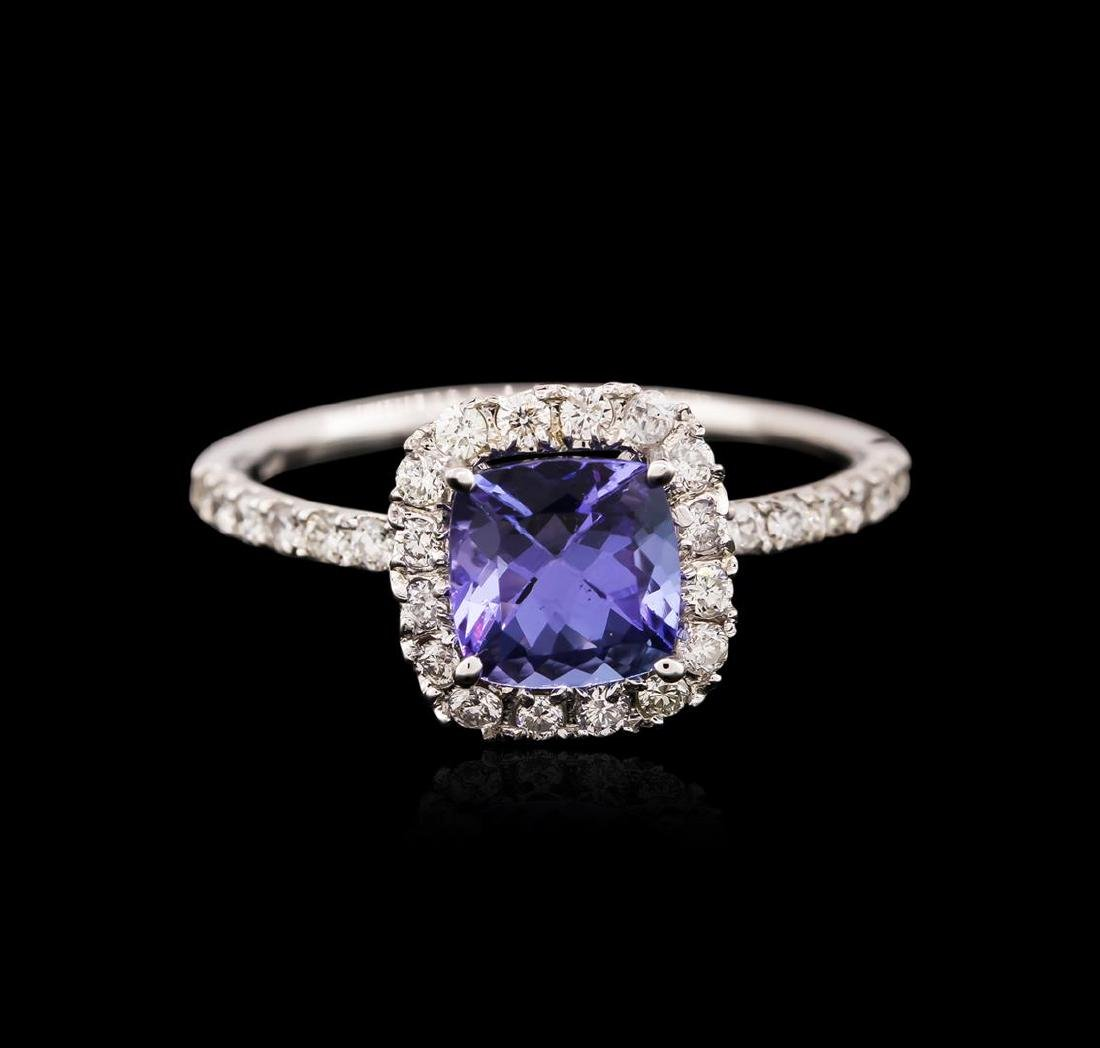 14KT White Gold 1.36 ctw Tanzanite and Diamond Ring